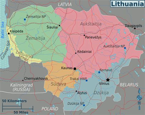 map of lithuania lithuania travel guide at wikivoyage