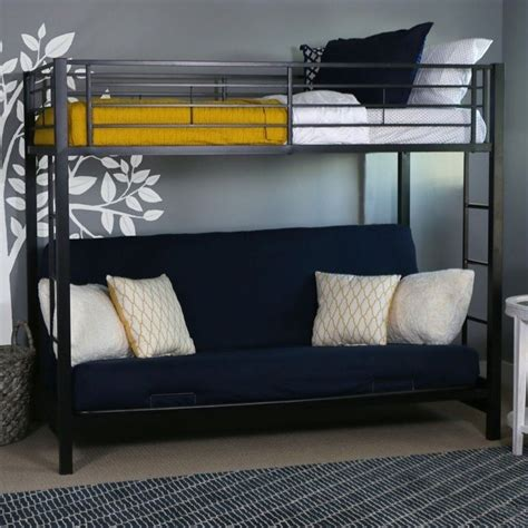Metal Bunk Bed Frame With Futon Walker Edison Sunset Metal Futon Bunk Bed Frame In Black Btofbl