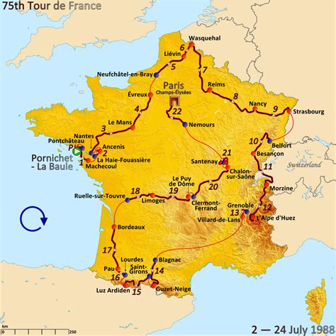if you are on a tour to france then paris happens to be on top of 1988 tour de france wikidata