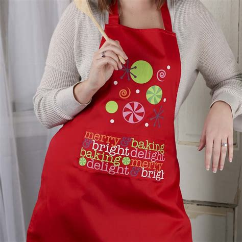 pattern christmas apron quot merry baking quot adult christmas apron textiles and linens