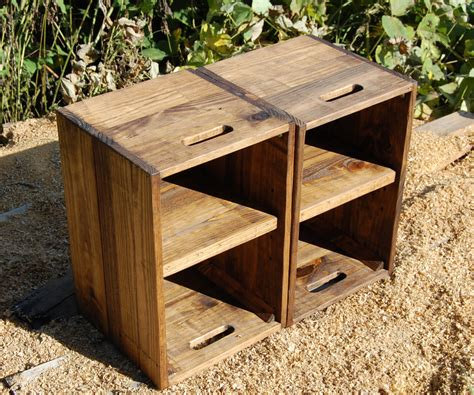 Wooden Crate Nightstand Wooden Crates Nightstand Pair Of Side Tables Reclaim Wood