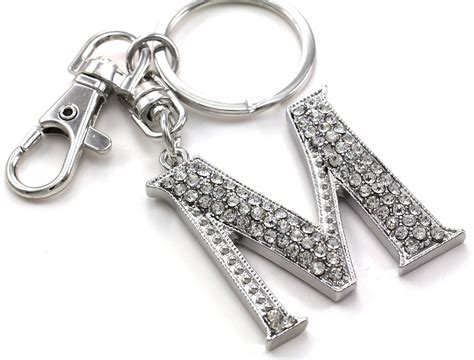 alphabet for keychains clear name alphabet initial letter m car keychain key ring