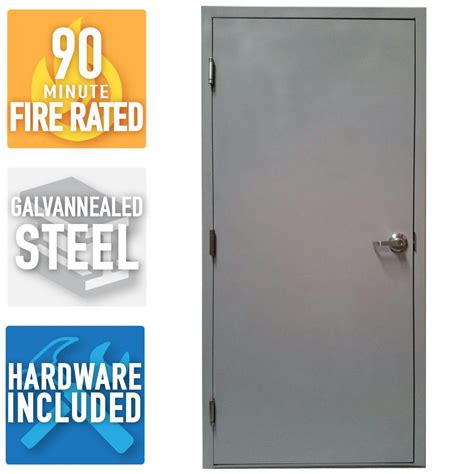 Armor Door 36 in. x 80 in. Fire Rated Gray Right Hand Flush Steel Commercial Door with Knock
