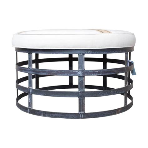 industrial ottoman oversized round industrial style ottoman with cotton linen