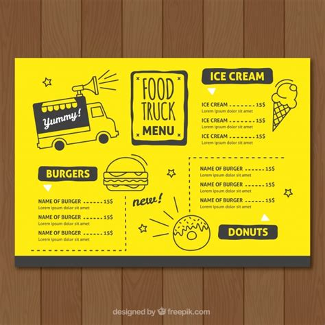 food truck menu template food truck menu template vector free