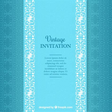 Free Patterns For Wedding Invitations blue vintage wedding invitation pattern vector free