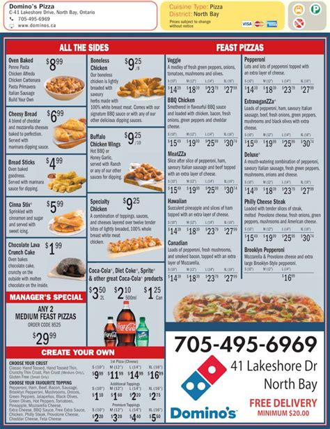 domino pizza menu delivery domino s pizza north bay on 41 lakeshore dr canpages