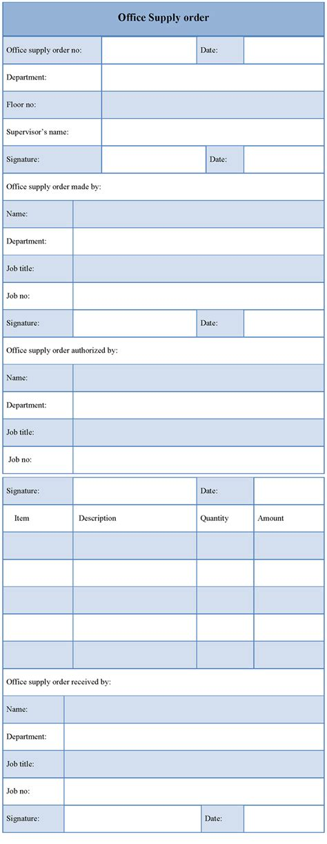 office template for supply order form sle of office