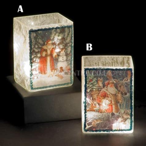 Lu Warm White snowtime 10 led warm white illuminated glass santa