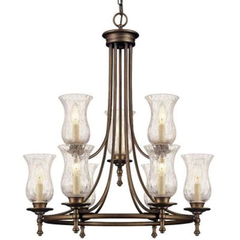grace 9 light rubbed bronze chandelier 14688 the home depot