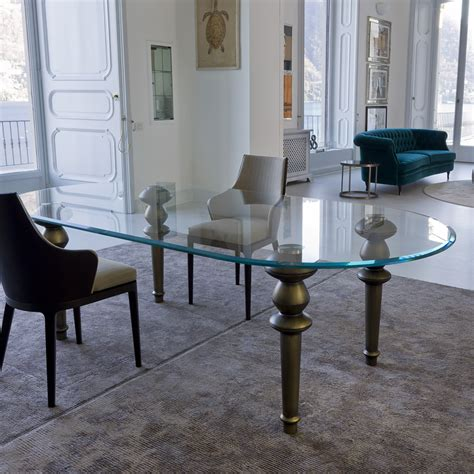 glass dining room table high end italian oval glass dining table