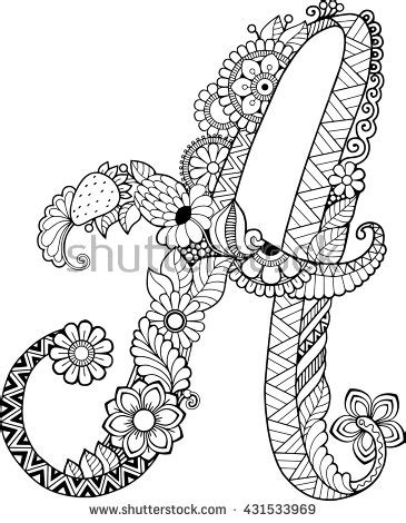 printable doodle letters coloring book for adults floral doodle letter hand drawn