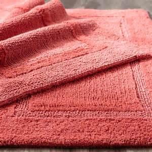 coral color bathroom rugs reversible cotton bath rug coral 27x45 pier 1 imports