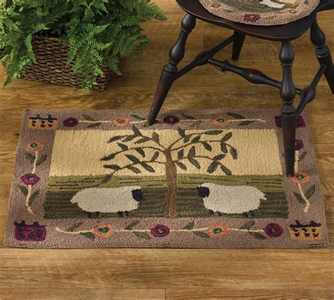 country hooked rugs willow and sheep hooked rug