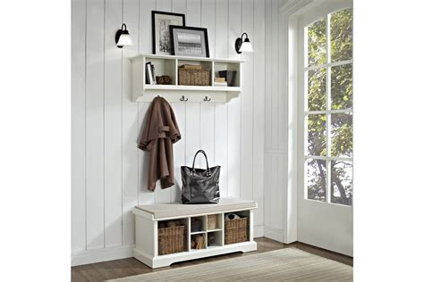 white entryway bench and shelf brennan 2 piece entryway bench and shelf set in white by