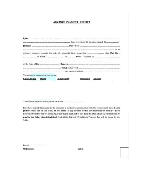 advance payment receipt template sle advance payment receipt 8 exles in word pdf