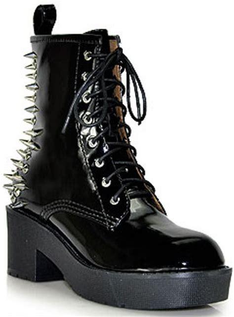 jeffrey cbell 8th st black patent leather spiked boot