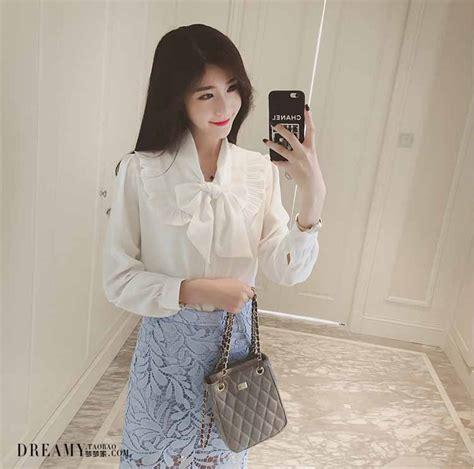 Atasan Putih baju atasan putih polos pita cantik toko baju wanita murah goldendragonshop