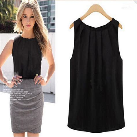 Black Casual Top 24643 black white o neck sleeveless summer tank top vest chiffon top simple casual