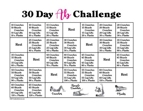 southern mom loves  day ab challenge  calendar