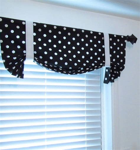 polka dot curtain black white polka dots tie up curtain valance handmade