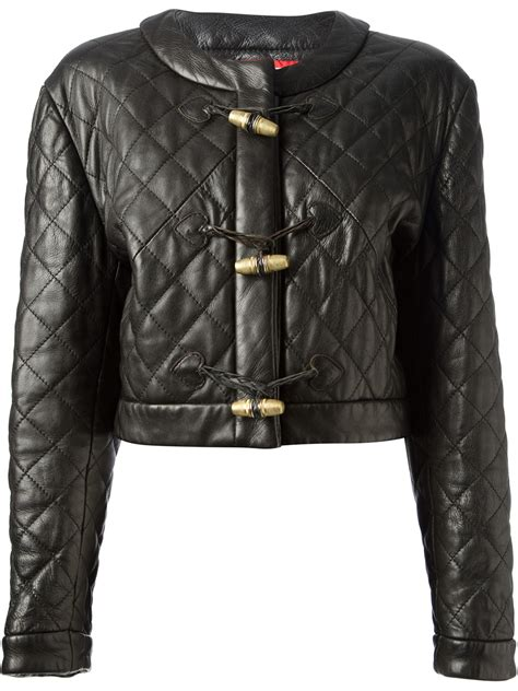 Quilted Leather Jackets by Moschino Quilted Leather Jacket In Black Lyst