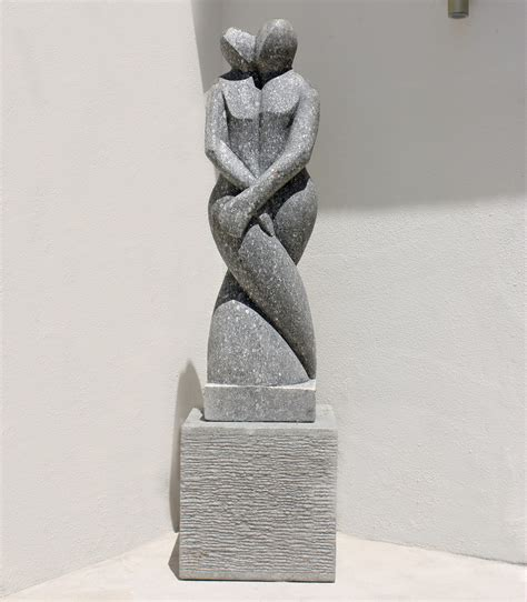 Home Interiors Figurines twin flame modern art stone statue large garden