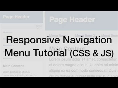 responsive website tutorial youtube responsive web design navigation menu tutorial youtube