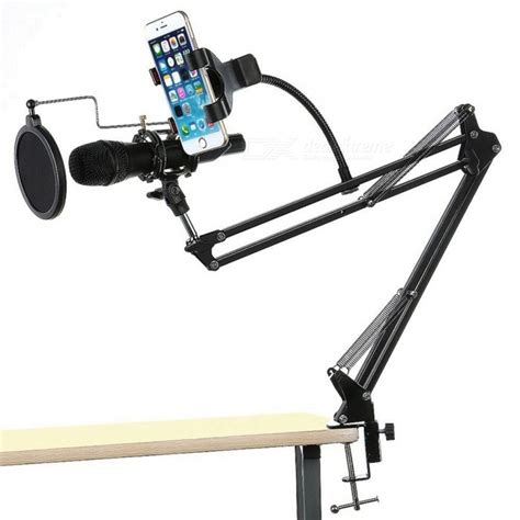 Adjustable Desk Recording Microphone Stand With Phone Desk Mount Mic Stand