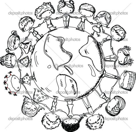 coloring pages of christmas around the world children holding hands around world coloring page cute
