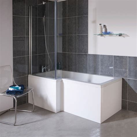 Shower And Bathroom 1700mm L Shape Square Shower Bath Screen White Left Right Option At Plumbing Uk
