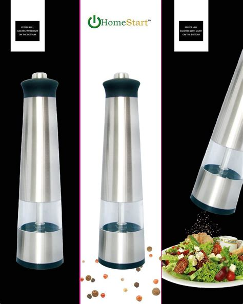 electric salt pepper mill grinder with light homestart electric salt pepper grinder with led light