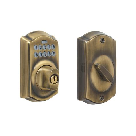 Schlage Door Keypad Change Code by Schlage Camelot Antique Brass Keypad Deadbolt Be365
