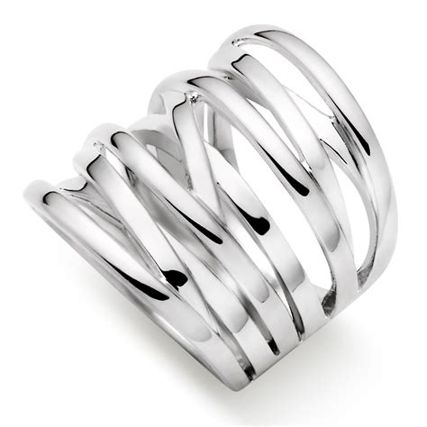 silver wide strand ring 0006366 beaverbrooks the jewellers
