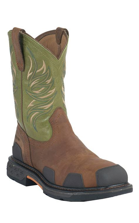 ariat overdrive work boots ariat overdrive s toast brown w lime square composite