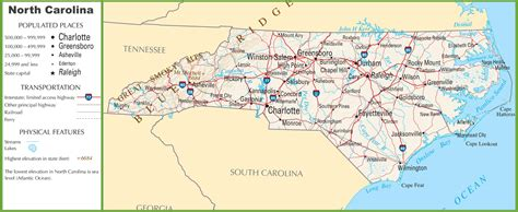 map world nc map in carolina my