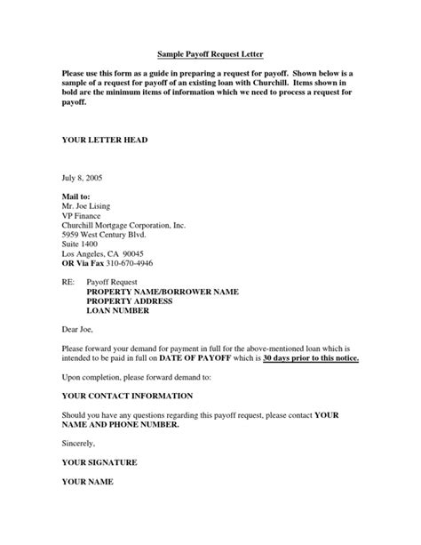 Mortgage Paid In Letter Template Sle Payoff Request Letter