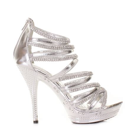 silver high heel shoe gladiator strappy sandal high heel silver platform