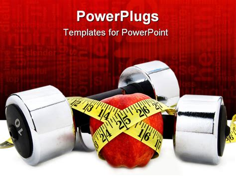 Weights And Apple And A Tape Measure Powerpoint Template Background Of Fitness Apple Concept Fitness Powerpoint Presentation Templates