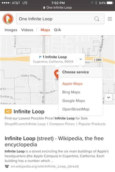 mobile search engine duckduckgo launches directions feature with option to use
