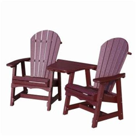 Plastic Patio Chairs Home Depot Vifah Roch Recycled Plastic 3 Adirondack Patio Chair And Table Set In Burgundy
