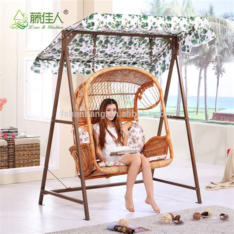 outdoor patio garden steel rattan double two love seat