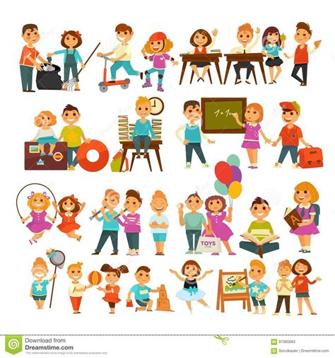 Cnk Set Kancing Sing children is singing and vector vector