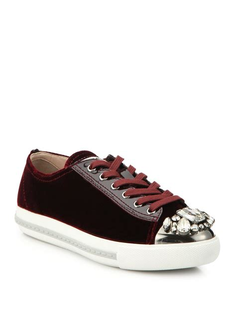 velvet sneakers lyst miu miu studded velvet sneakers in purple