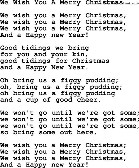wish song search results for we wish you a merry lyrics