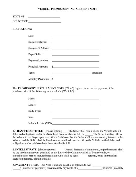 Promissory Note Form Free Printable Documents Auto Promissory Note Template