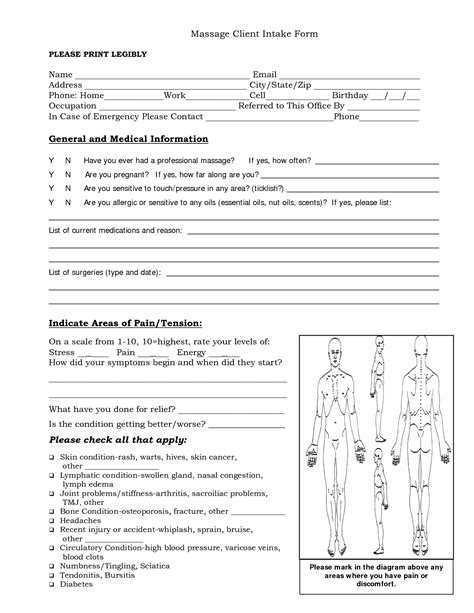 tattoo medical history form free massage intake forms massage client intake form