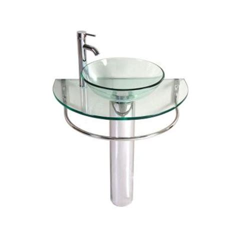 Kokols Kailash Pedestal Combo Bathroom Sink In Clear Wf 01 Home Depot Bathroom Vanity Sink Combo