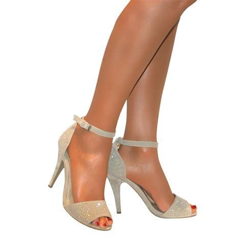 Glitter High Heel Sandals womens strappy glitter peep toe stiletto high heel ankle