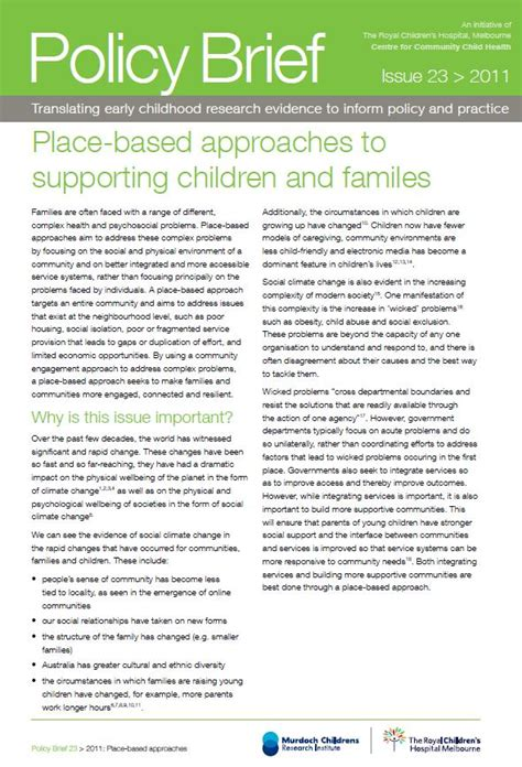 policy brief exle template place based approaches to supporting children and families